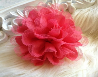 2 pcs New Large Shabby Chic Frayed Wrinkled Cotton Voile and Tulle Rose Fabric Flower - Watermelon. /Coral Pink