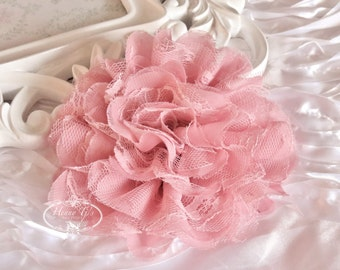 1 pc Large Shabby Chic Frayed Chiffon Mesh and Lace Rose Fabric Flower - DUSTY ROSE / Misty Rose