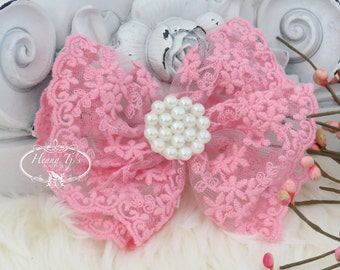 NEW: Quinlan Collection - 2 pcs Beautiful PINK Lace and Pearls Hair Bow Applique. Hair accessories. Bridal garter. Bridal Sash