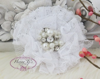 NEW: The Sunridge- 2 pcs 3 inch WHITE Ruffled Lace Fabric Flowers w/ rhinestones pearls center for Bridal Sashes, Hair Appliques Accessories