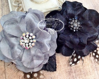 """NEW: Prima Flowers Plume """"Licorice"""" 575526 Black and Gray Velvet Fabric Flower with Rhinestone center with leaves and Feathers."""