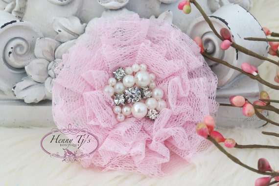 NEW: The Sunridge - 2 pcs 3 inch PINK Ruffled Lace Fabric Flowers w/ rhinestones pearls center for Bridal Sashes, Hair Appliques Accessories