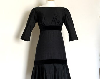 Jet Black 1920's Drop-Waist Charleston Dress- by Dig For Victory
