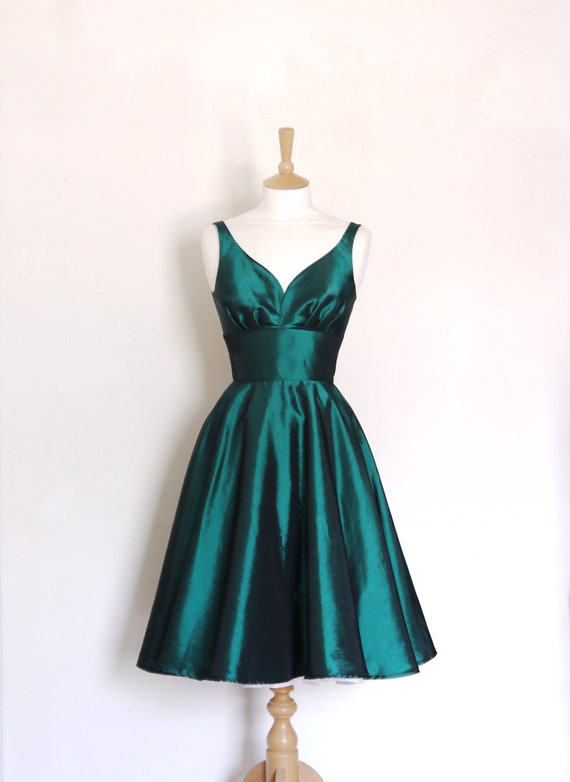 Emerald Green Taffeta Sweetheart Tea Dress (Size UK 6- 16) - Made by Dig For Victory - FREE SHIPPING worldwide