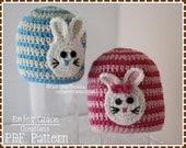 Crochet Rabbit Hat Pattern, Stripe Beanie, SOME BUNNY LOVES You - pdf 114