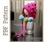Crochet Bonnet Pattern, Pom Pom Pixie Hat, BETSY BOBBLE BONNET - pdf 230