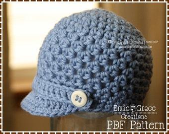 Newsboy Hat Crochet Pattern, Textured Brimmed Cap, HAMILTON - pdf 405