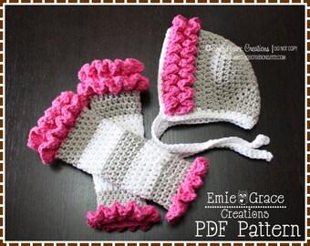 Ruffled Bonnet Hat and Leg Warmers Crochet Patterns, LILY - pdf 221, 708