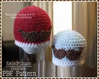 Mustache Hat Crochet Pattern, 8 Sizes from Newborn to Adult, LITTLE MAN - pdf 408