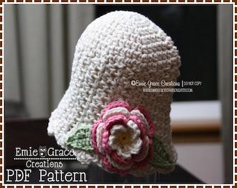 Flower Hat Crochet Pattern, Textured Bell, KATE - pdf 210