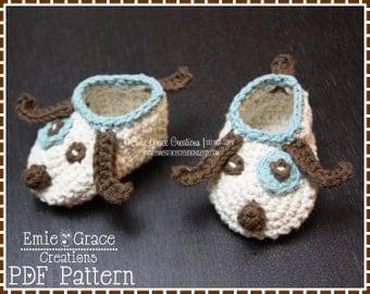Crochet Puppy Slipper Pattern, LOGAN and LOLA - pdf 706