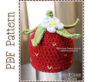 Crochet Strawberry Hat Pattern, Blossom Beanie, SWEET STRAWBERRY - pdf 217