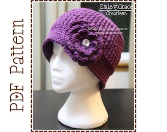 Crochet Flower Hat Pattern - Ribbed Beanie - Adult Size Only - TIFFANY - pdf 504