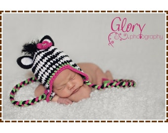 Crochet Zebra Hat Pattern, Ear Flap Mohawk Mane, ZOEY and ZANE ZEBRA - pdf 103