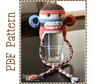 Crochet Sock Monkey Hat Pattern, 8 Sizes from Newborn to Adult, SUZY and SID Sock MONKEY - pdf 122