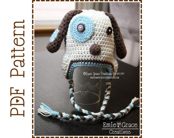 Crochet Puppy Hat Pattern Dog Ear Flap LOGAN and LOLA pdf