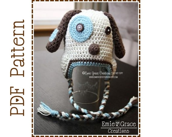 Crochet Pattern For Dog Hat With Ear Holes : Crochet Puppy Hat Pattern Dog Ear Flap LOGAN by ...