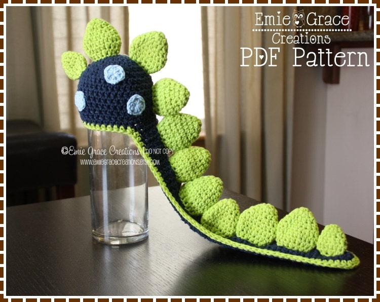 Free Crochet Pattern For Dinosaur Beanie : Crochet Dinosaur Hat Pattern Spiked Beanie Cape LONG TAIL