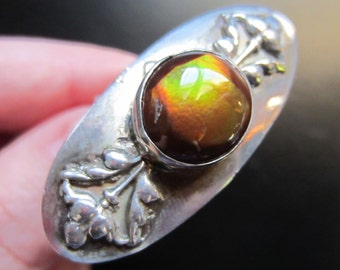 HUGE Vintage Sterling Silver Art Nouveau Exceptional Fire Agate Ring