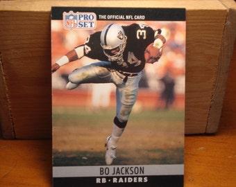Pro Set Football Card, Bo Jackson, L.A. Raiders, Football, NFL, Sports Card, Collecting