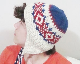 Womens winter hats with ear flaps hat in red, blue, cream hand knit wool hat