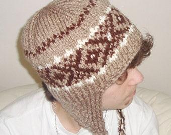 Knit Hat Mens Hat Knit Winter Ear Flap Hat - Tassel Hat in Beige Brown Cream Knit Hat - Mens Accessories Winter Hat
