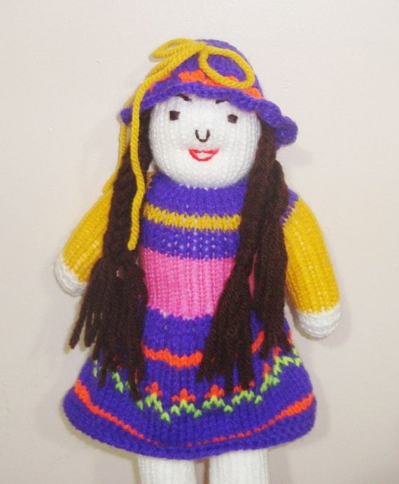 "handmade birthday gift for kids - 14"" Knitted Doll Organic Toys - Pink purple yellow  -  WINTER SALE"