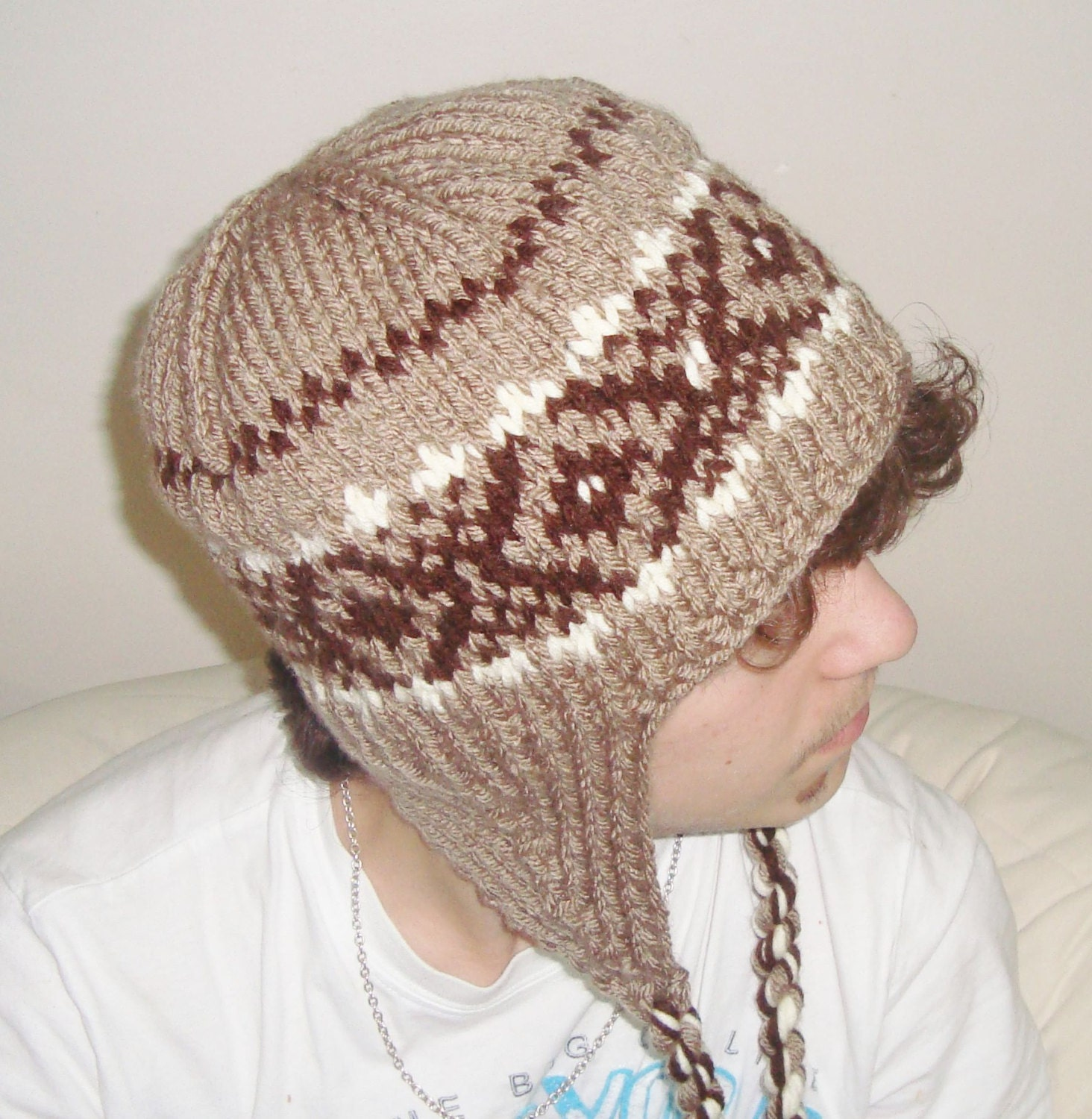 Knitting Pattern For Mens Hat With Ear Flaps : Knit Hat Mens Hat Knit Winter Ear Flap Hat Tassel Hat in