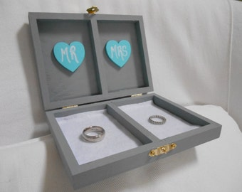 Wedding Ring Box Ring Bearer Box His and Her's Custom color engraved, ring bearer pillow, tiffany blue wedding