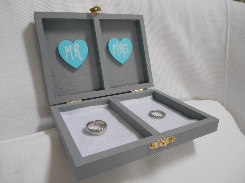 Wedding ring box ring bearer box his and her 39 s custom for Custom engagement ring box