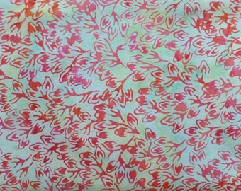 Quilting Batik Cotton by Anthology Fabrics Red Little Leaves AF6162