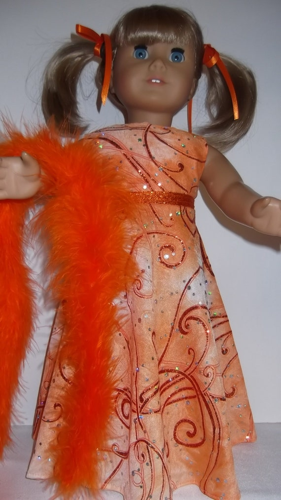 American Girl doll clothes - Orange Sparkly Gown and Boa - # #220