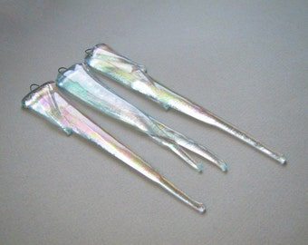 3 Glass Icicles Christmas Ornament Fused Glass Ornament Sun Catcher Handmade OOAK