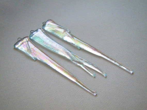 3 Glass Icicles Christmas Ornament Fused Glass Ornament Sun