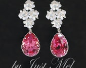 Swarovski Rose Teardrop with Matt Silver Flower Earring (E178)