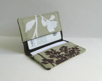 Business Card Holder. Credit Card Holder. Transit Card Holder. Bus Pass Holder - Khaki with Chocolate Brown and White Leaf, Blossoms