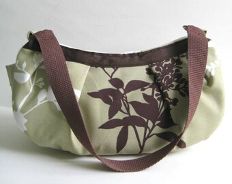 Small Pleated Shoulder Bag in Khaki Green with Chocolate Brown and White Branch/Blossoms