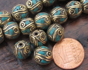 2 Beads-Nepalese oval shape brass beads with turquoise inlay from Nepal -  BD520