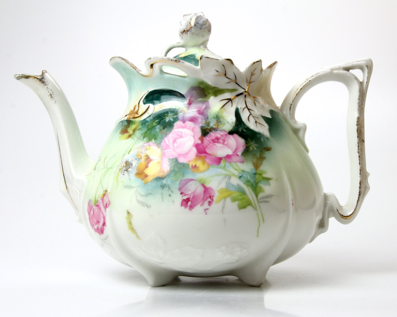 Antique Porcelain Teapot Unmarked RS Prussia Exquisite
