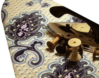 Ironing Board Cover with ELASTIC AROUND EDGES made with Amy Butler Love Arabesque ivory and blue select the size