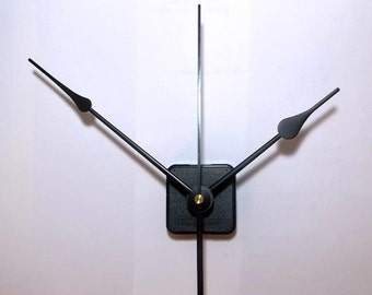 Continuous Motion Quartz Clock Movement (Super quiet) with 7 in. Large Black Spaded Hands NO33 & 6 in. Sweep
