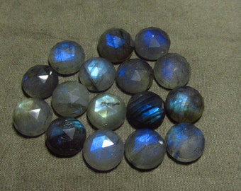 11 mm - 16 pcs - Gorgeous Nice Quality AA Labradorite - Super Sparkle Rose Cut Faceted Round -Each Pcs Full Flashy Gorgeous Fire
