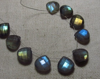Brand New Items - 4 Matching Pair - Amazing Beautiful - LABRADORITE - Faceted Heart Briolett Full Flashy Fire Sparkle Huge Size 12 mm