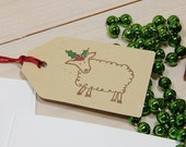 Festive Sheep - Happy Christmas To Ewe Olive Wood Stamp