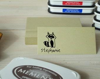 Custom Little Raccoon Olive Wood Stamp