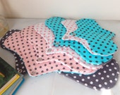 Cloth Menstrual Pad Starter Kit Dotted Flannel Fabric Includes Seven Pads in Four Sizes Great Value