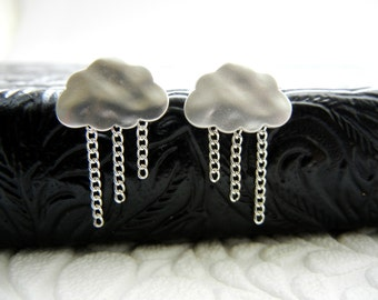 Silver Raincloud Sterling Silver Post Earrings