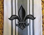 Whim - Center Band (Pewter shown) - Napoleonic Fleur de Lis - Cotton 20x30 Designer Kitchen Hand Towel