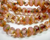 25 8x6mm Pink Opal / Crystal Travertine Czech Fire polished Rondelle beads