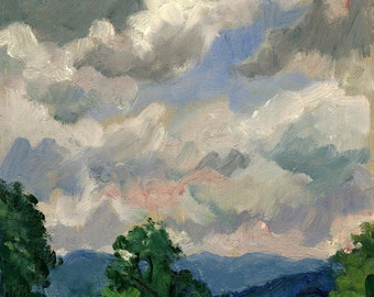 Cloudy Summer Sky, Berkshires. Small Realist Oil Painting Landscape on Panel, 6x7 Plein Air American Impressionist Fine Art, Signed Original